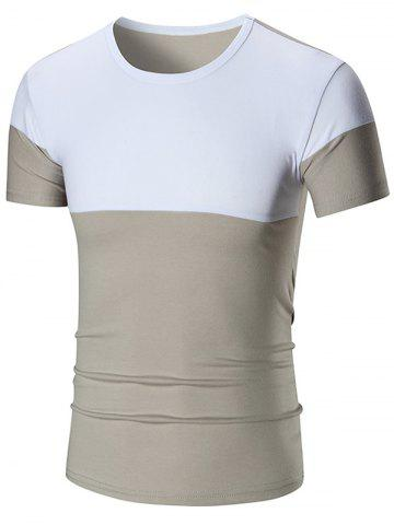 Online Two Tone Stretch Short Sleeve T-shirt GRAY 5XL