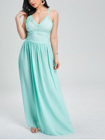 Crochet Insert Lace Up Floor Length Formal Dress - Clover - S