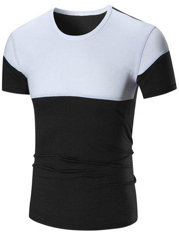Online Two Tone Stretch Short Sleeve T-shirt BLACK 3XL