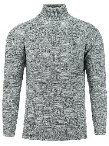Checked Turtle Neck Knit Blends Sweater - Silver - M