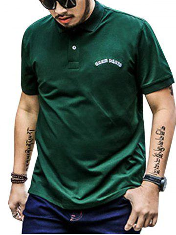 Fancy Plus Size Embroidered Polo Shirt - 4XL GREEN Mobile
