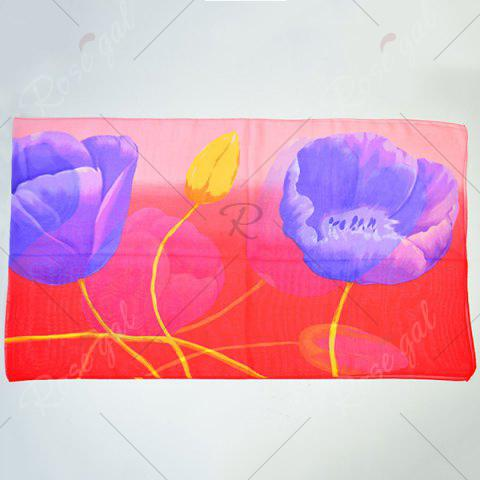 Fashion Showy Floral Printing Chiffon Gossamer Scarf - WATER RED  Mobile