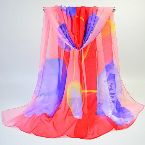Buy Showy Floral Printing Chiffon Gossamer Scarf - WATER RED  Mobile