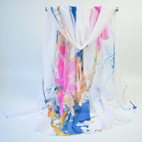 Trendy Lightsome Wash Painting Flowers Printing Long Scarf - WHITE  Mobile