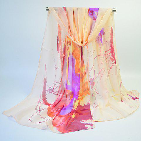 Buy Lightsome Wash Painting Flowers Printing Long Scarf - APRICOT  Mobile