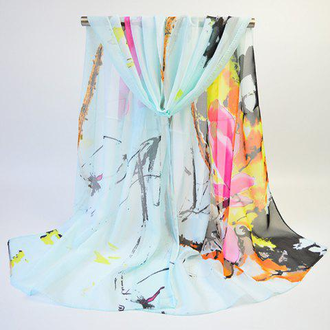 Fashion Lightsome Wash Painting Flowers Printing Long Scarf - CLOVER  Mobile