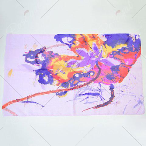 Store Lightsome Wash Painting Flowers Printing Long Scarf - SUEDE ROSE  Mobile