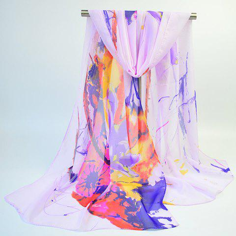 Lightsome Wash Painting Flowers Printing Long Scarf - Suede Rose - 42