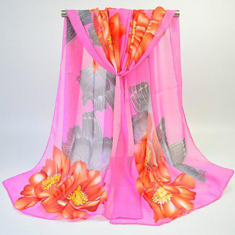 Hot Floral Printed Gossamer Vintage Shawl Scarf - PAPAYA  Mobile