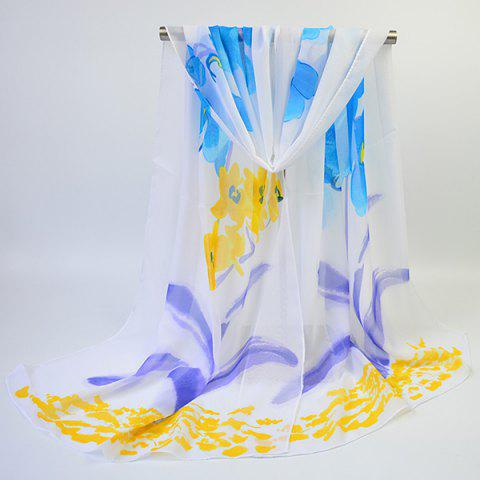 Buy Long Watercolour Floral Printing Chiffon Scarf - YELLOW  Mobile