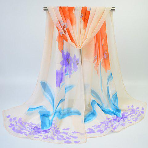 Chic Long Watercolour Floral Printing Chiffon Scarf - SUEDE ROSE  Mobile
