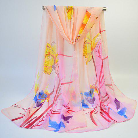 Store Gossamer Ink Wash Painting Lotus Printed Scarf - APRICOT  Mobile