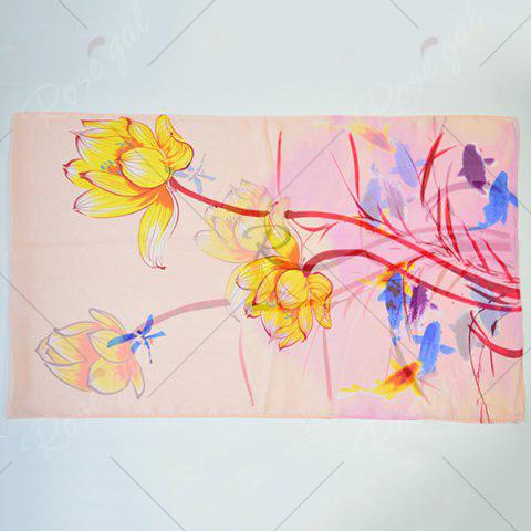 Sale Gossamer Ink Wash Painting Lotus Printed Scarf - APRICOT  Mobile