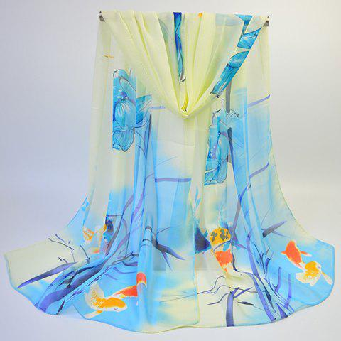 Chic Gossamer Ink Wash Painting Lotus Printed Scarf - BLUE  Mobile