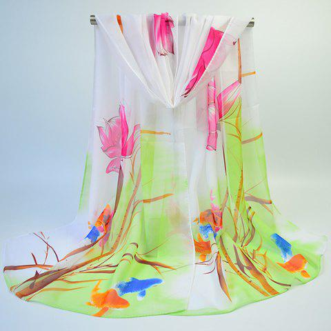 Discount Gossamer Ink Wash Painting Lotus Printed Scarf - GREEN  Mobile