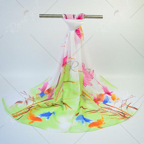 Outfits Gossamer Ink Wash Painting Lotus Printed Scarf - GREEN  Mobile