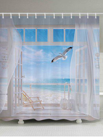 Outfit Beach Balcony Fabric Waterproof Bathroom Shower Curtain - W71 INCH * L79 INCH WHITE Mobile