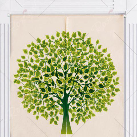 Online Tree Pattern Home Product Artistic Door Curtain - W33.5 INCH * L35.5 INCH GREEN Mobile
