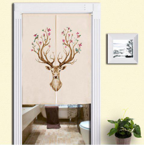 Shop Floral Deer Print Cotton Linen Home Door Curtain - W33.5 INCH * L35.5 INCH COLORMIX Mobile