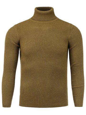 Vertical Knitting Turtle Neck Stretchy Sweater - Camel - 2xl