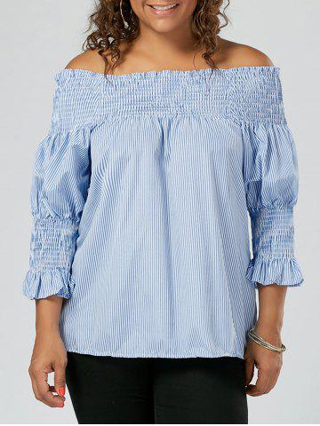 Stripe Ruffled Off The Shoulder Plus Size Top - Blue - 5xl