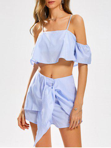 Fashion Cold Shoulder Stripe Crop Top and Knotted Shorts - M WINDSOR BLUE Mobile