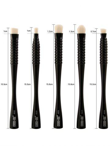 Outfits 5Pcs Waisted Portable Makeup Brushes Set - FULL BLACK  Mobile