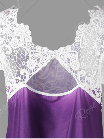 Hot Lace Panel Raglan Sleeve Floral Plus Size Top - CONCORD 2XL Mobile