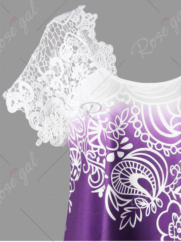 Buy Lace Panel Raglan Sleeve Floral Plus Size Top - CONCORD 2XL Mobile