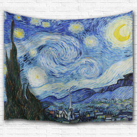 Online Watercolor Space Home Decor Hanging Throw Tapestry - W59 INCH * L79 INCH BLUE Mobile