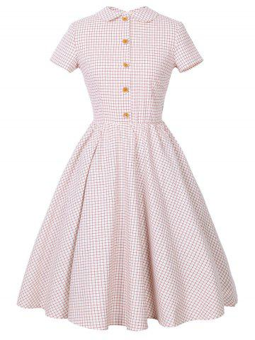 Checked Collared Short Sleeve Pin Up Dress - Pink - M