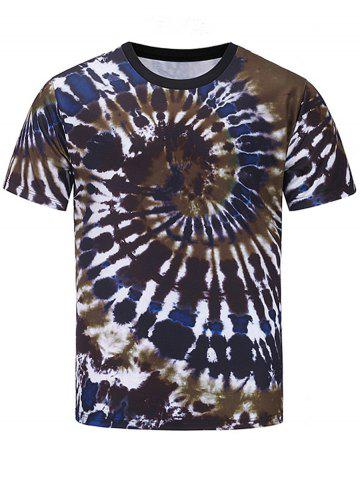 Trendy Short Sleeve Color Block Spiral Tie Dye Print T-shirt COLORMIX L