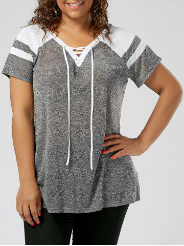 Plus Size Lace Up Raglan Sleeve Top - Grey And White - Xl