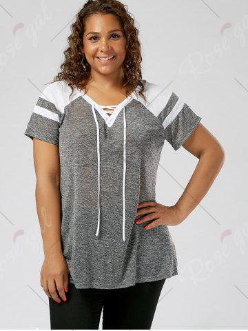 Store Plus Size Lace Up Raglan Sleeve Top - GREY AND WHITE 2XL Mobile