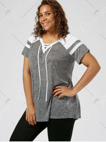 Sale Plus Size Lace Up Raglan Sleeve Top - GREY AND WHITE 3XL Mobile