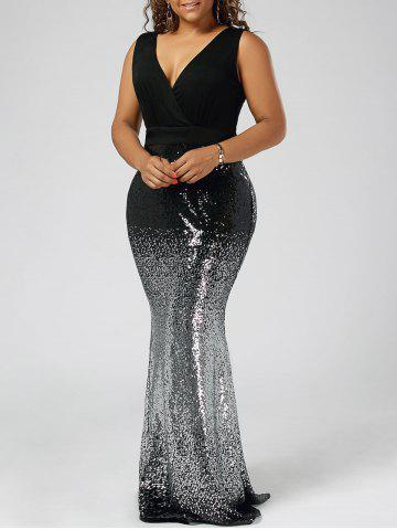 Plus Size Sequins Fishtail Maxi Evening Dress - Black - 5xl
