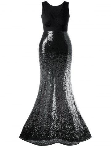 Latest Plus Size Sequins Fishtail Maxi Evening Dress - 5XL BLACK Mobile