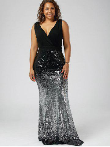 Shops Plus Size Sequins Fishtail Maxi Evening Dress - 5XL BLACK Mobile