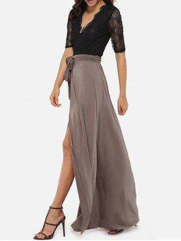 High Slit Lace Insert Maxi Prom Dress