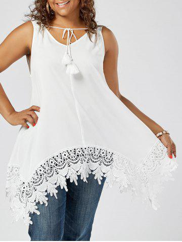 Trendy Lace Insert Plus Size Top - 2XL WHITE Mobile