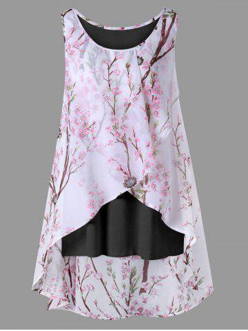 Cheap Plus Size Overlap Tiny Floral Sleeveless Top