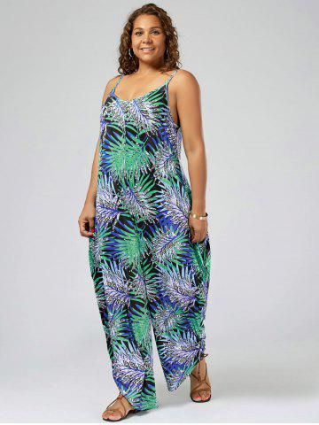 ccaf1f91566 Plus Size Tropical Printed Spaghetti Strap Baggy Jumpsuit