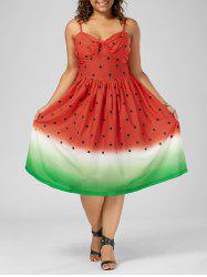 Plus Size A Line Watermelon Print Slip Dress