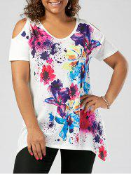 Splatter Paint Plus Size Cold Shoulder T-shirt - WHITE