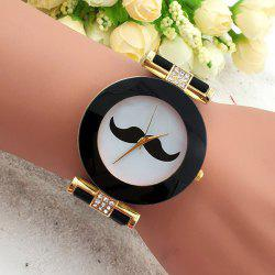Handlebar Face Rhinestone Analog Quartz Watch