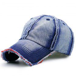 Artificial Sanding Brim Gradient Denim Baseball Cap - DEEP BLUE