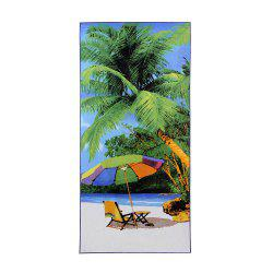 Soft Polyester Bath Towel with Ocean Beach Print