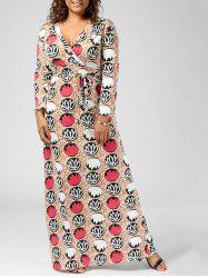 V Neck Printed Floor Length Plus Size Dress