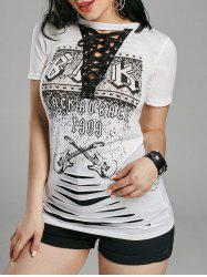 Ripped Rock Graphic  Front Lace Up  T-shirt