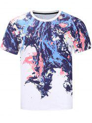 Short Sleeve Colorful Splatter Paint Print T-shirt